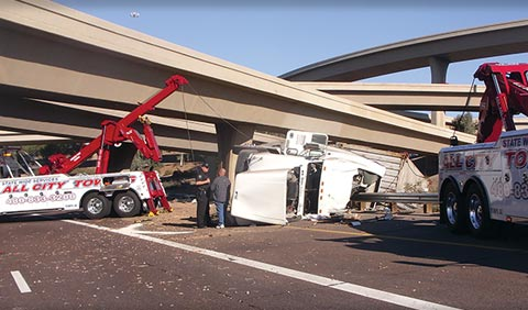 Tractor trailer rollover accident on Arizona highway